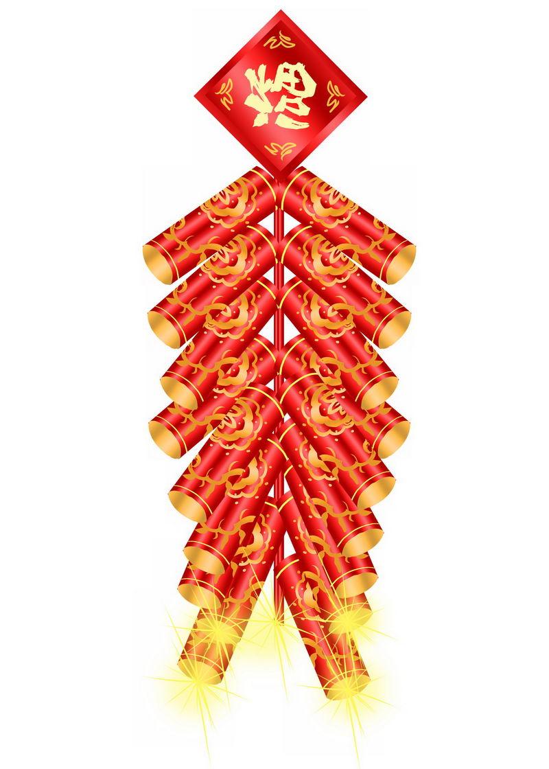 一串新年春节使用的红色金色鞭炮4368870图片免抠素材 节日素材-第1张