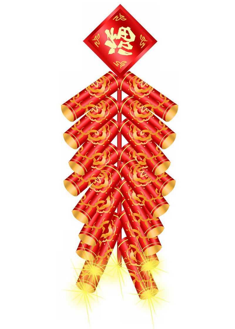 一串新年春节使用的红色金色鞭炮4368870图片免抠素材