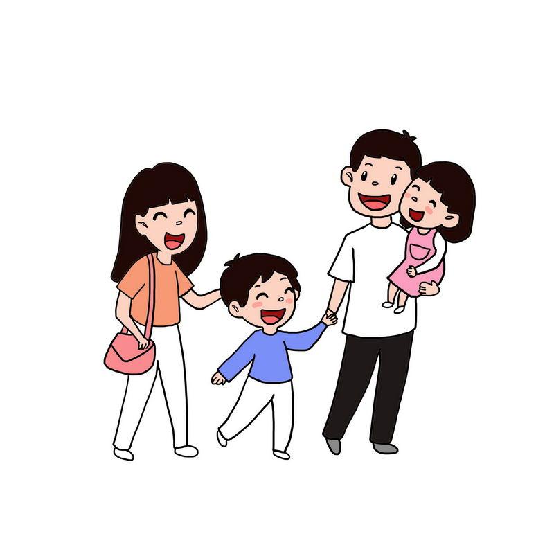 快乐的卡通一家四口手绘插画5365281图片免抠素材 人物素材-第1张