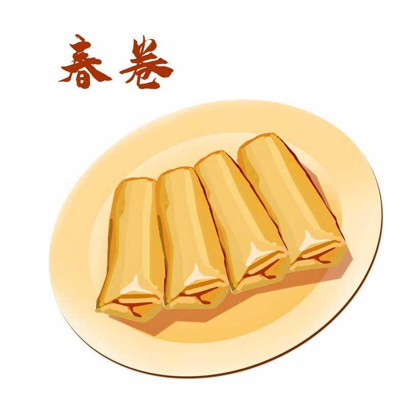 一盘春卷传统美食立春手绘插画5836771图片免抠素材