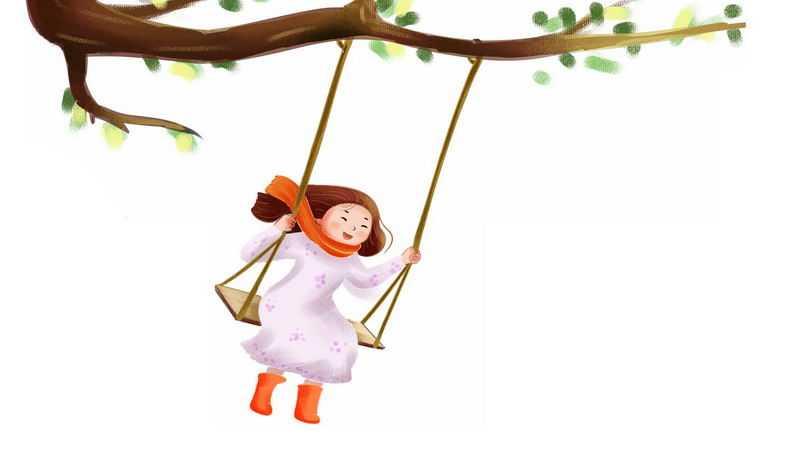 水彩画风格树下荡秋千的女孩1605318图片免抠素材