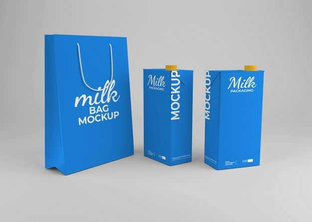 纸袋子购物袋和蓝色包装的盒装牛奶包装显示样机2306125免抠图片素材