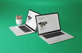 两台苹果笔记本电脑MacBookPro屏幕显示样机7942041免抠图片素材