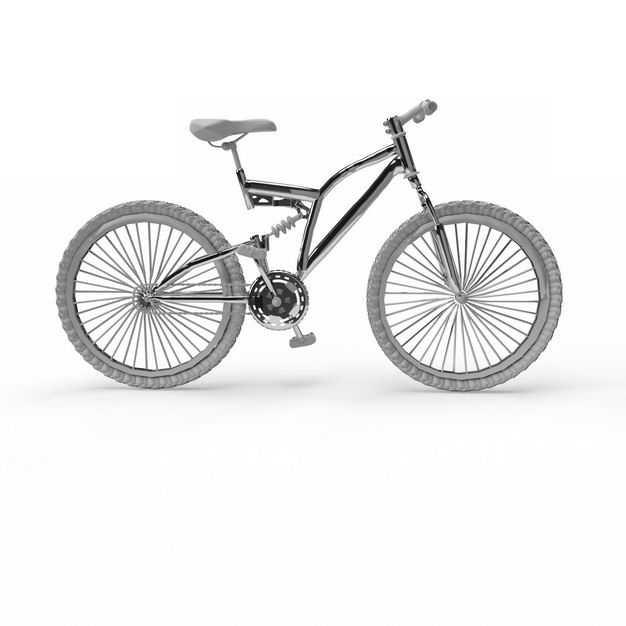一辆不锈钢运动自行车双碟刹山地车6041302免抠图片素材