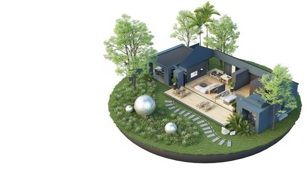 3D立体风格豪华别墅内部结构和院子装修效果图4147909免抠图片素材 建筑装修-第1张