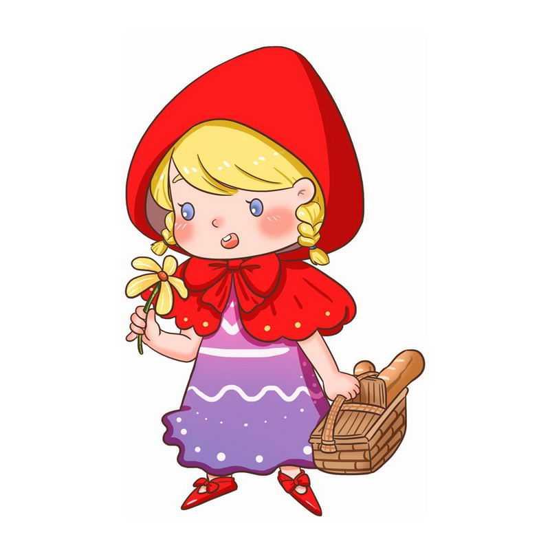 一手提着篮子一手拿着花朵的小红帽卡通小女孩童话人物插画82542146图片免抠素材