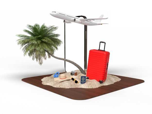 手机显示样机和飞机旅行箱椰子树绿色观赏植物沙滩等热带旅游元素7960357免抠图片素材