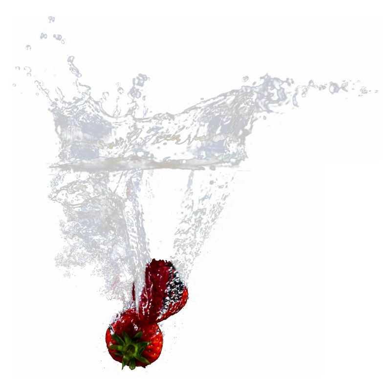 草莓掉落水中飞溅起来的半透明水花浪花水效果1704854png图片免抠素材