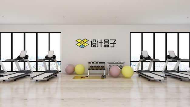 现代装修的健身房墙壁上的文字LOGO显示样机5290335图片素材