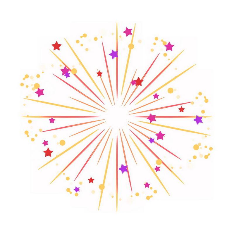 绽放的烟花效果五角星圆点装饰节日礼花1815115png图片免抠素材 效果元素-第1张