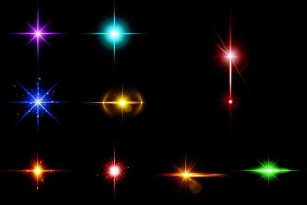九款紫色蓝色红色黄色绿色光芒光线星光效果8558723免抠图片素材