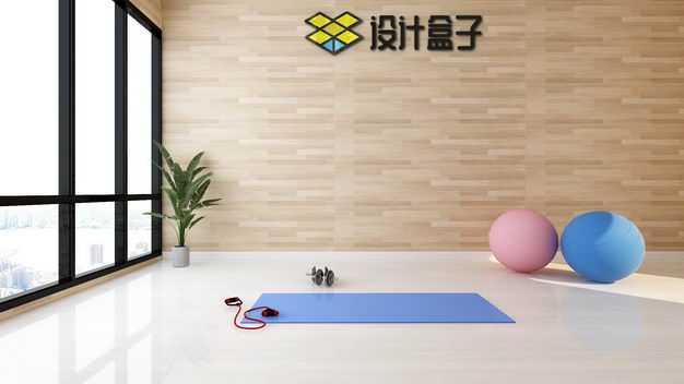 现代装修的健身房瑜伽垫瑜伽球墙壁上的文字LOGO显示样机7196796图片素材
