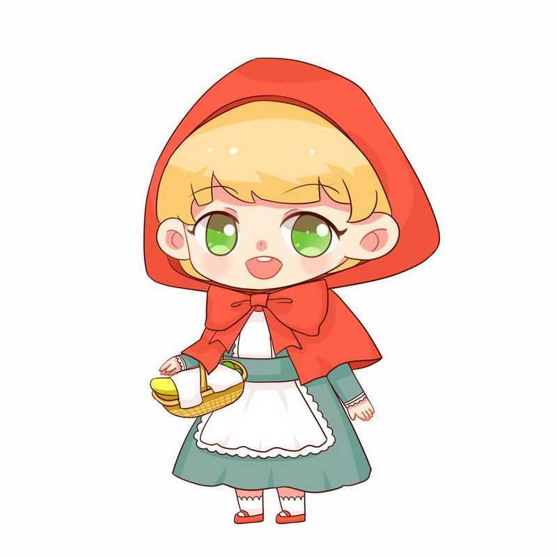 挎着篮子的可爱小红帽卡通小女孩童话人物插画5875473图片免抠素材