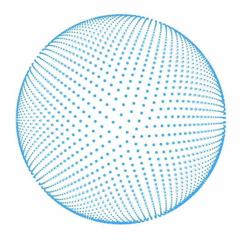 蓝色圆点组成的3D立体感的圆球7032011ai矢量图片免抠素材