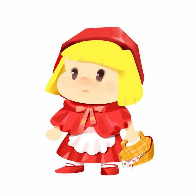 拎着篮子的小红帽卡通小女孩童话人物插画7291743图片免扣素材