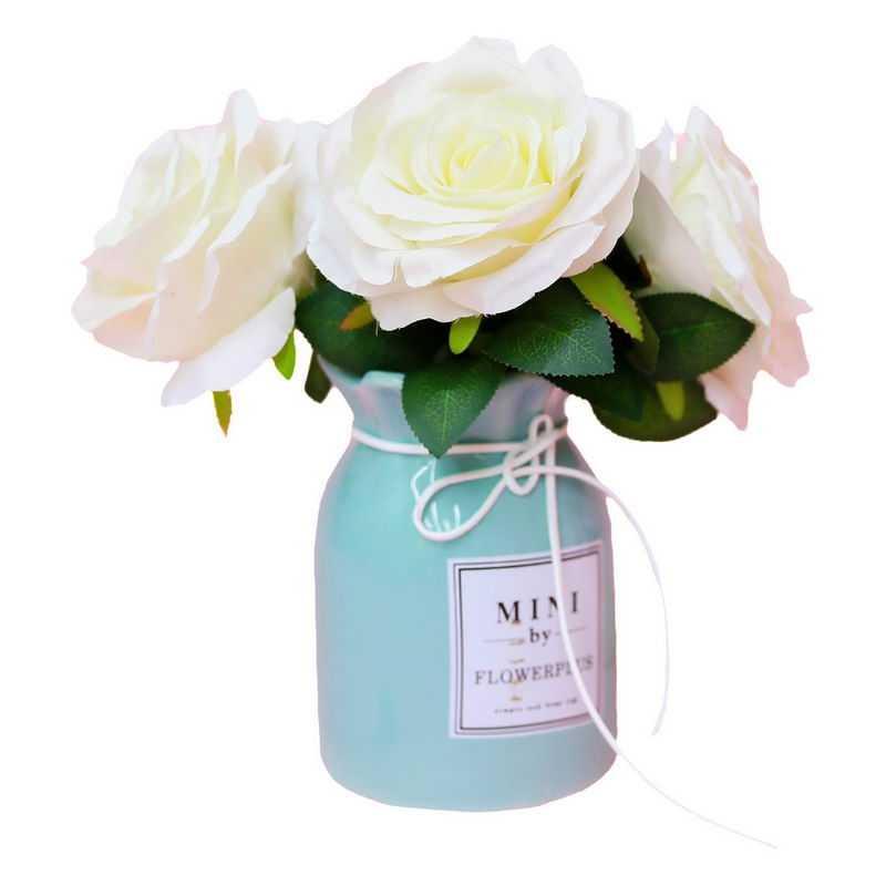 文艺范儿花瓶中的三朵白玫瑰花鲜花花卉花朵8103237png图片免抠素材