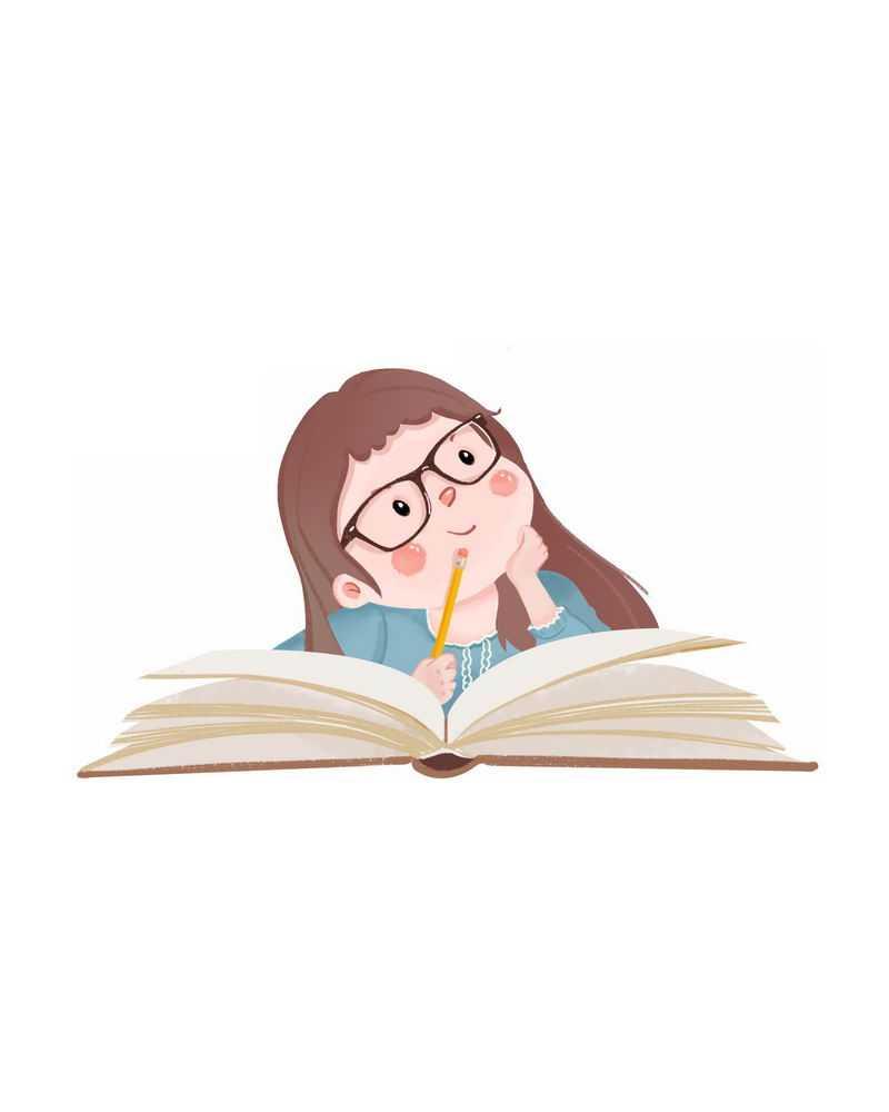 卡通女孩咬笔头思考学习中6125879图片免抠素材