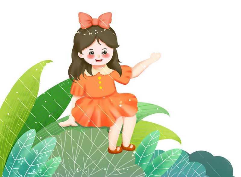 下雨天坐在绿叶上的卡通女孩二十四节气之雨水插画6194398图片免抠素材