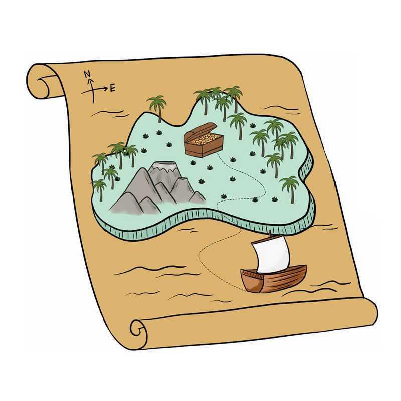 手绘风格卡通寻宝地图7282193png图片免抠素材