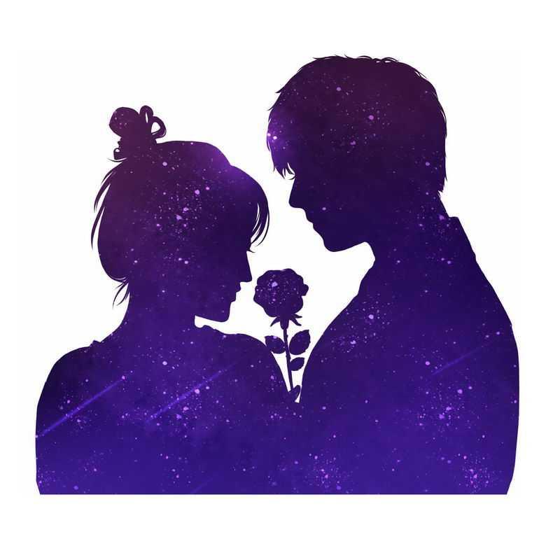 抽象紫色星空情侣剪影插画8382252图片免抠素材
