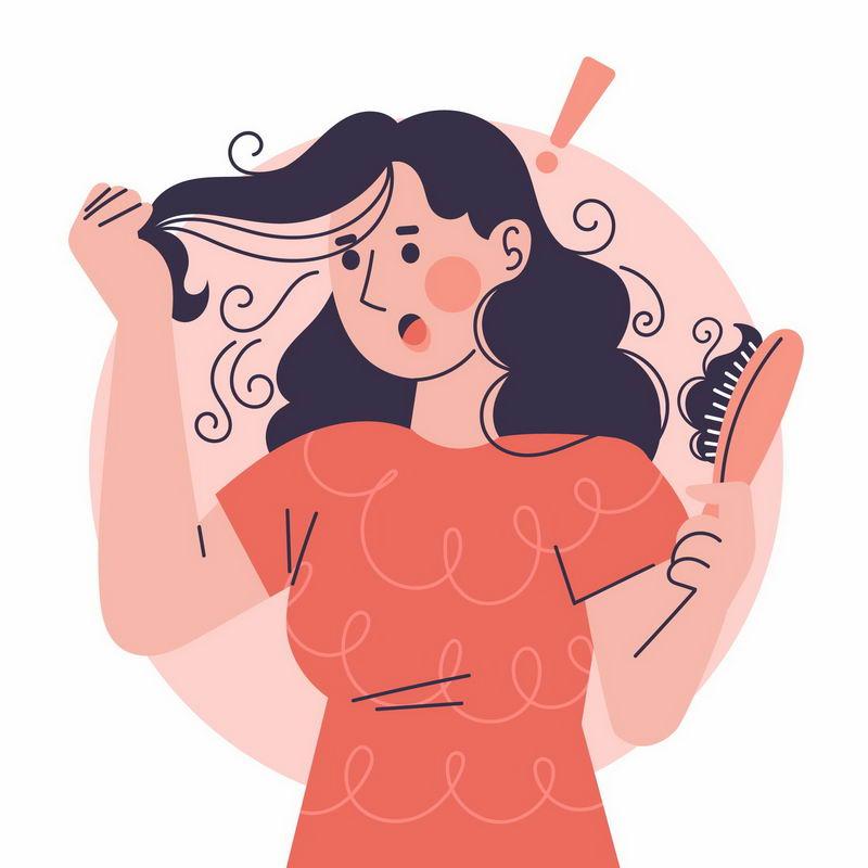卡通女士梳头发脱发掉发严重插画3875625图片免抠素材 健康医疗-第1张