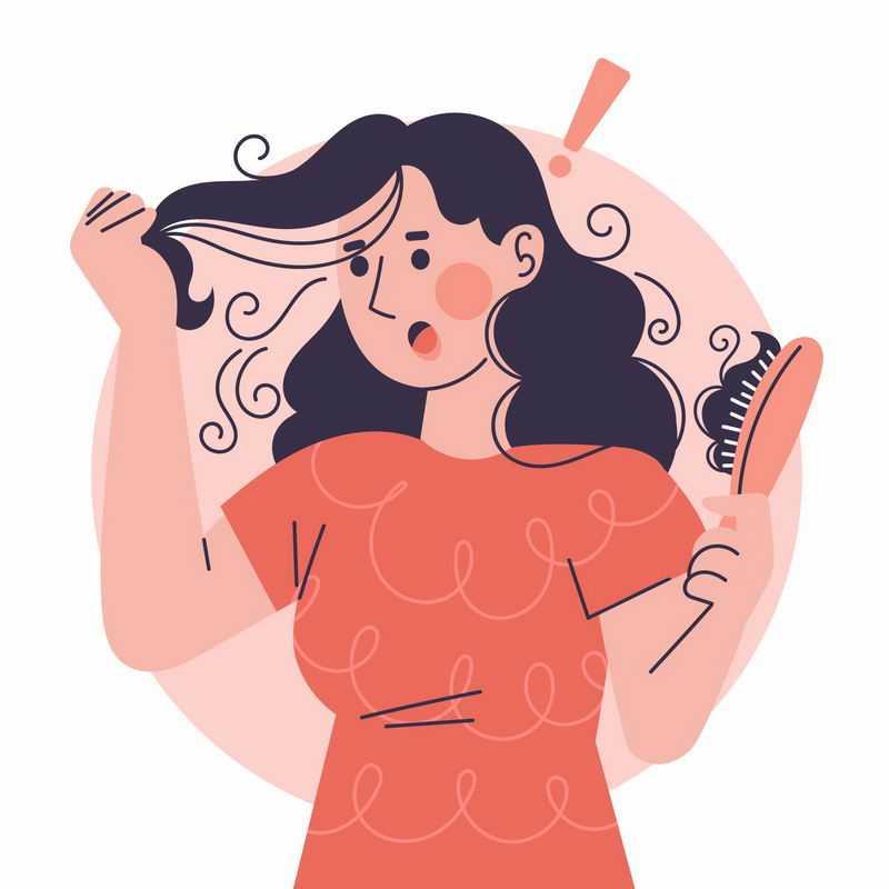 卡通女士梳头发脱发掉发严重插画3875625图片免抠素材