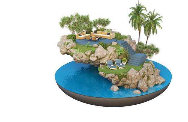 3D立体风格海边旅游景点豪华别墅民宿装修效果图9101774免抠图片素材