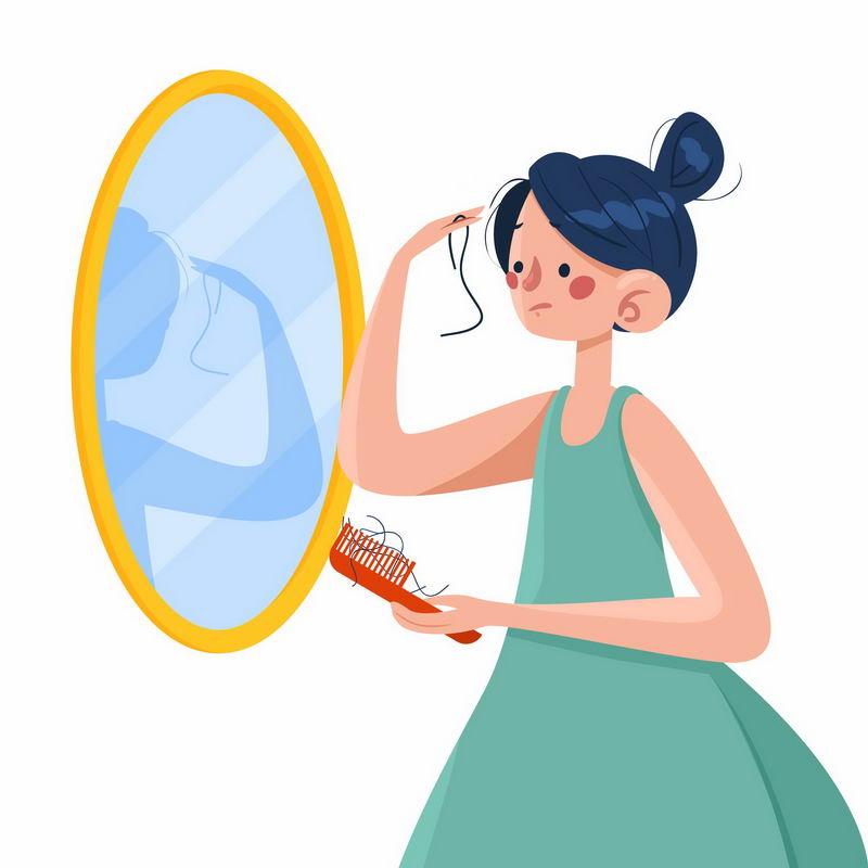 卡通女孩照镜子梳头发脱发掉发严重插画7763990图片免抠素材 健康医疗-第1张