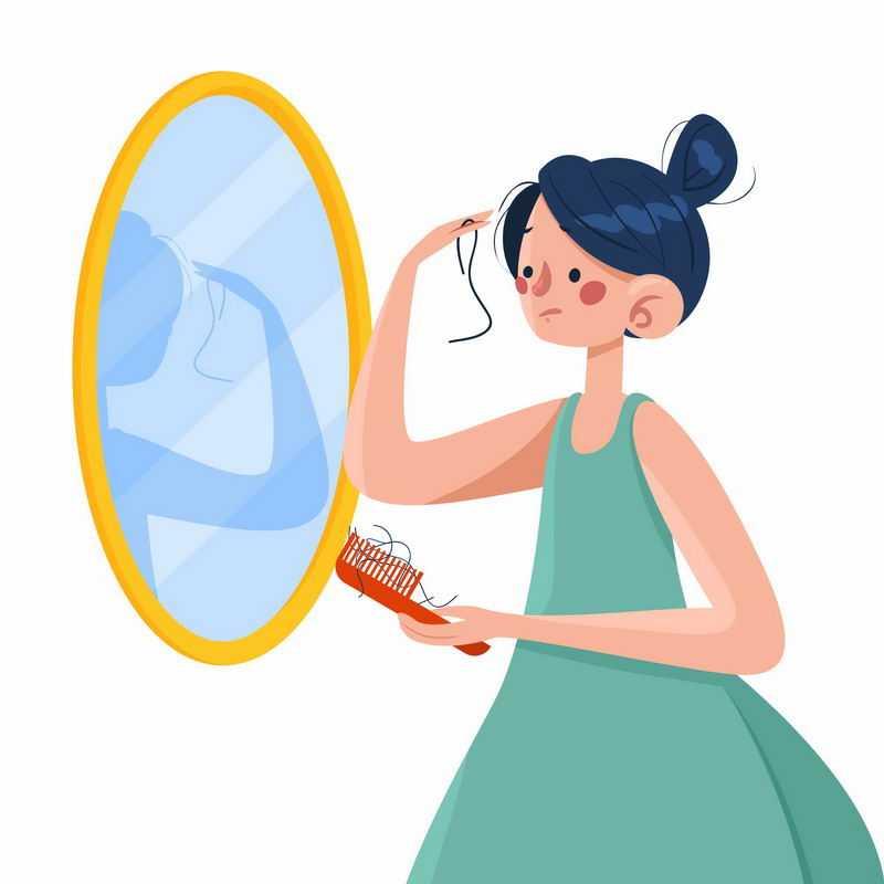 卡通女孩照镜子梳头发脱发掉发严重插画7763990图片免抠素材