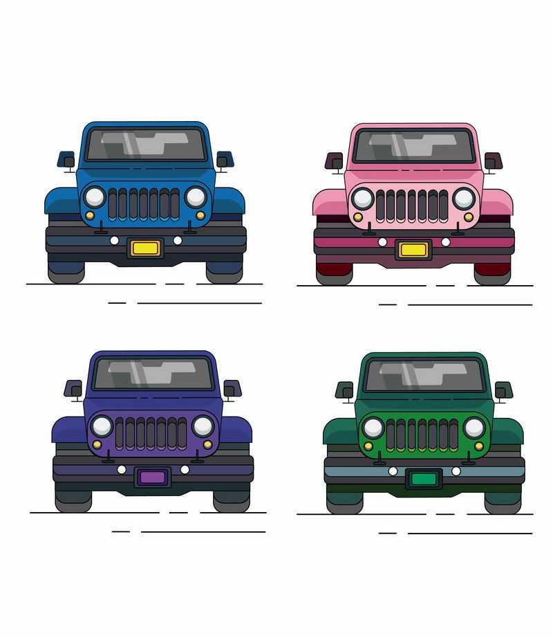 4款卡通风格蓝色粉色紫色和绿色越野车吉普车正面图7452338ai矢量图片免抠素材