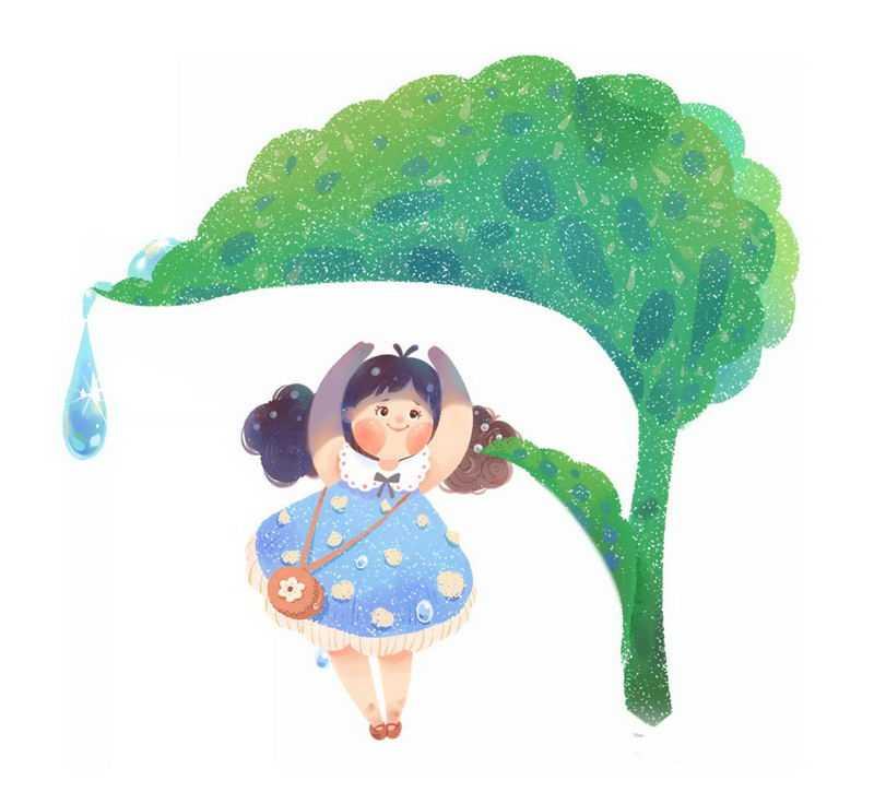 卡通女孩在树叶下面避雨二十四节气之雨水6311914图片免抠素材