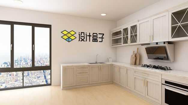现代装修的开放式厨房和餐厅墙壁上的文字LOGO显示样机1761139图片素材