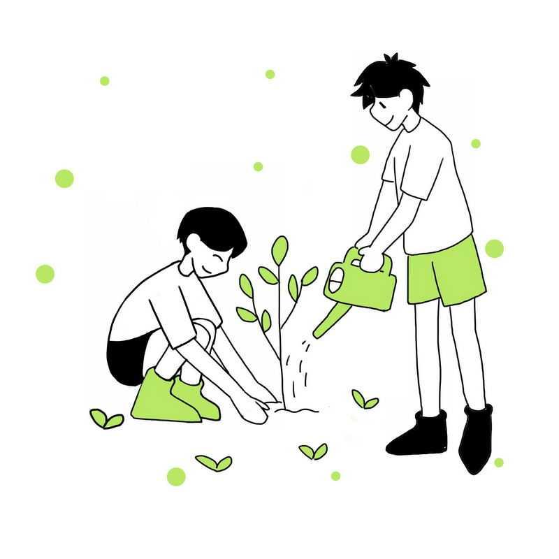 线条风格植树造林浇水手绘植树节插画5054986图片免抠素材