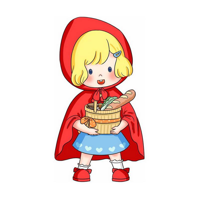 抱着篮子的小红帽卡通小女孩童话人物插画2654350图片免抠素材 人物素材-第1张