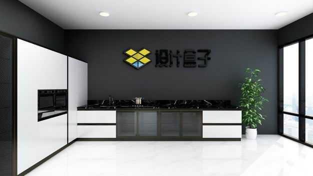 现代装修的开放式厨房展厅墙壁上的文字LOGO显示样机4791129图片素材