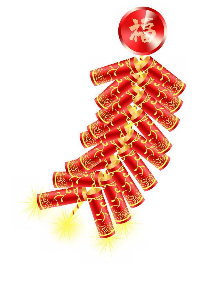 一串新年春节使用的红色金色鞭炮5440169图片免抠素材