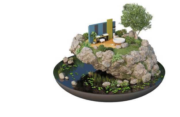 3D立体风格湖边的旅游景点豪华别墅民宿装修效果图6298650免抠图片素材