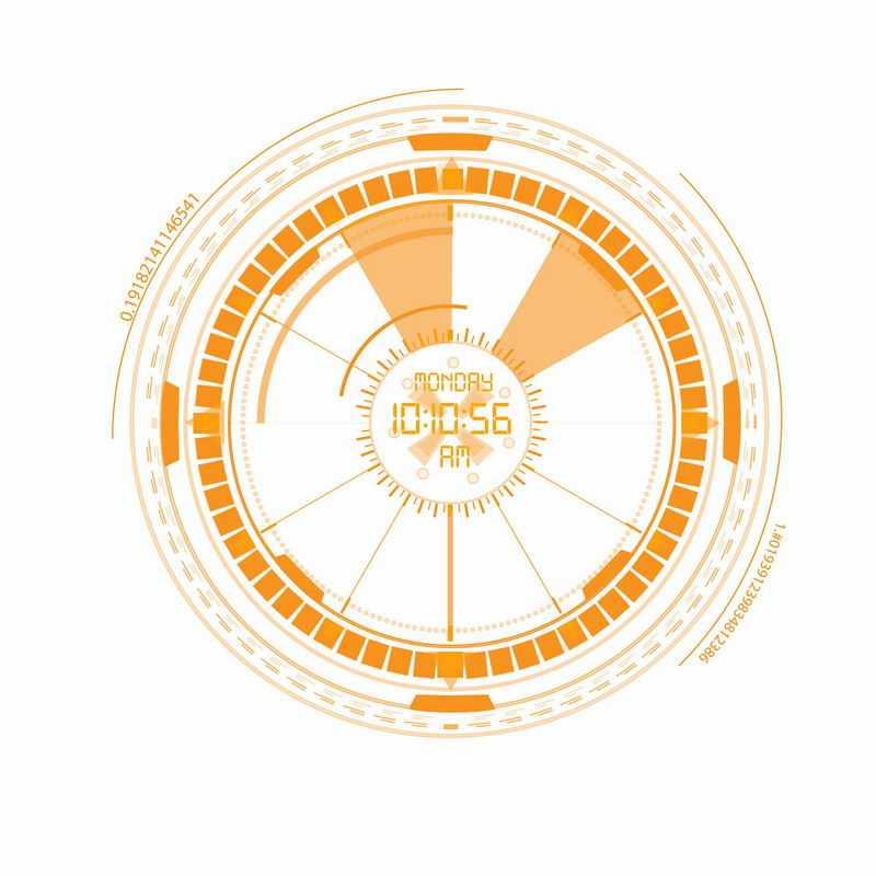 橙色科技科幻风格圆盘圆环装饰8430283ai矢量图片免抠素材