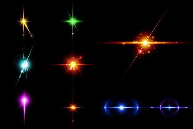九款紫色蓝色红色黄色绿色光芒光线星光效果3431469免抠图片素材