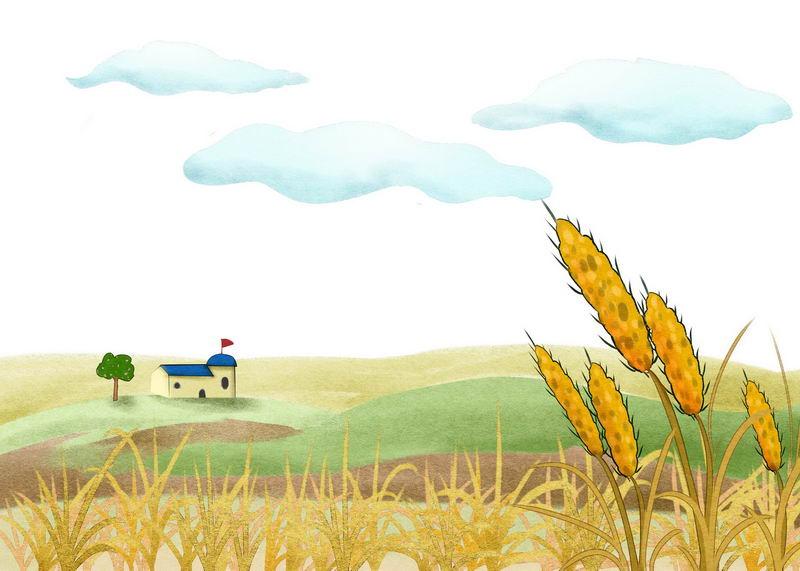 手绘风格小麦穗和远处乡村田野的风光画3133299图片免抠素材 生物自然-第1张
