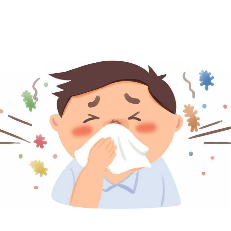 卡通男人用纸巾擦鼻涕感冒生病插画7552122图片免抠素材