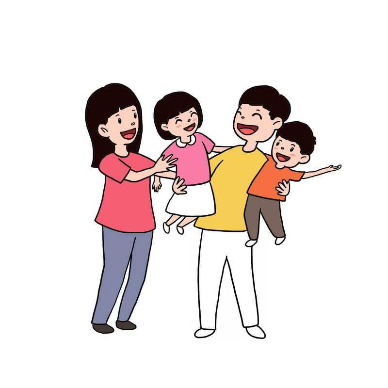 快乐的卡通一家四口手绘插画6183732图片免抠素材