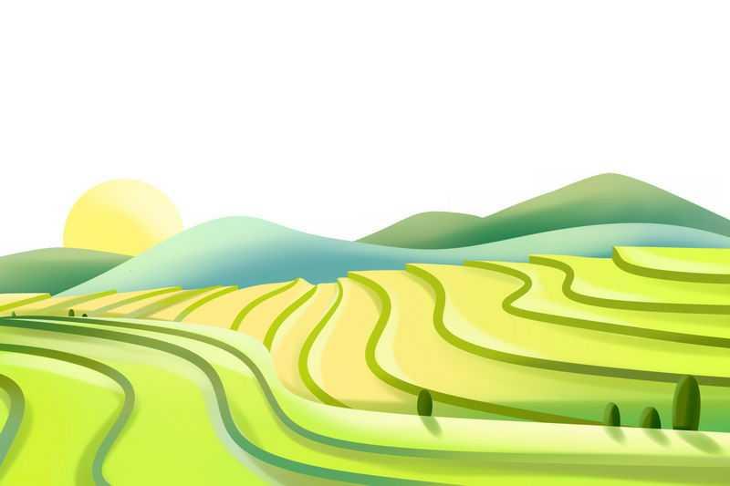 卡通风格乡村梯田田园风光图4708027图片免抠素材