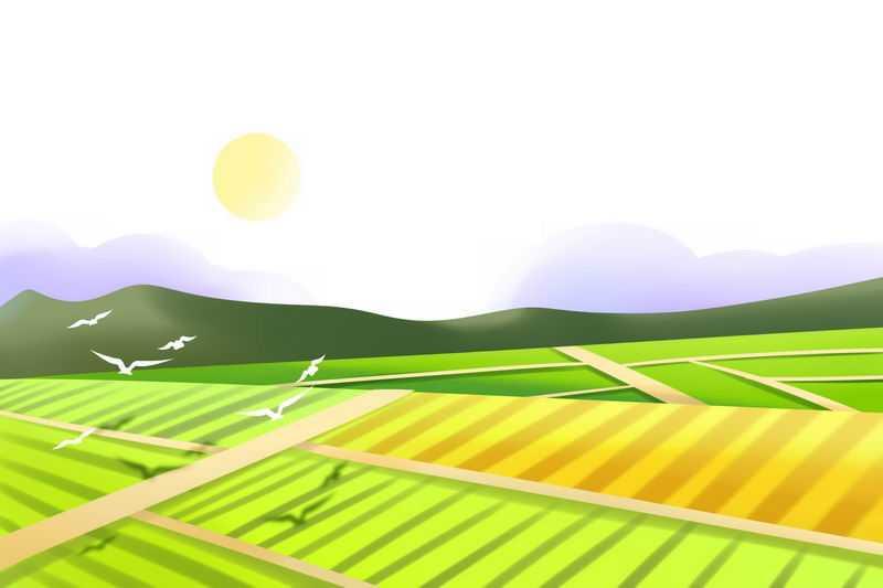 卡通风格农村交错的田野田园风光图1434760图片免抠素材