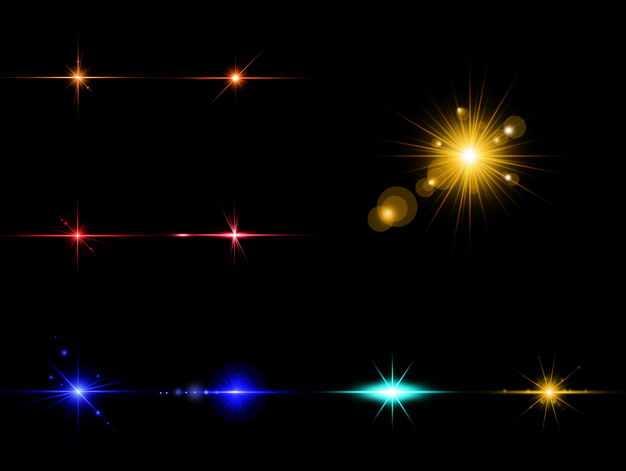 九款红色黄色蓝色光芒光线星光效果8312826免抠图片素材