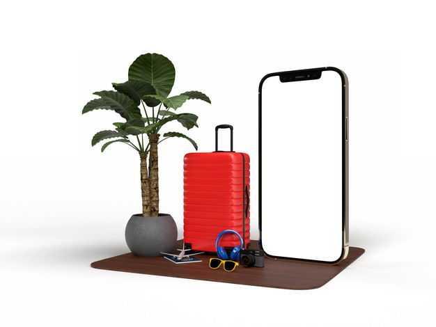 手机显示样机和旅行箱绿色观赏植物等热带旅游元素8182800免抠图片素材
