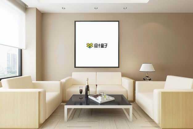 现代装修的会客厅墙壁上的挂画装饰画显示样机9341406图片素材