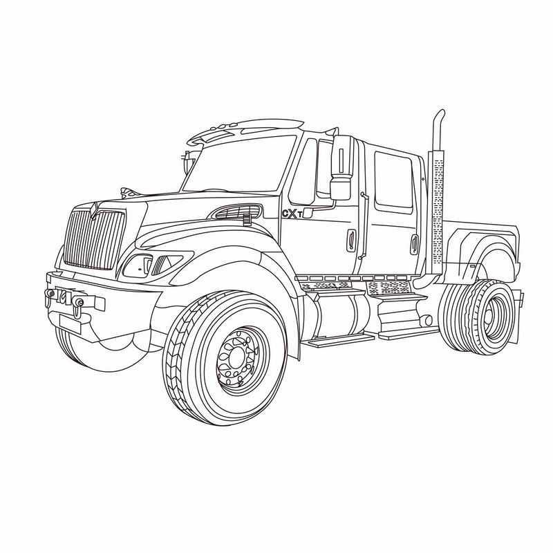 黑色线条风格大卡车车头插画2692173ai矢量图片免抠素材