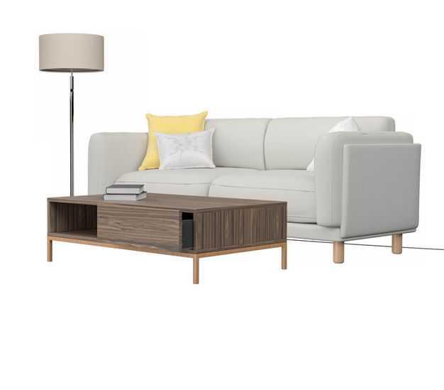 现代简约风格米白色双人沙发布艺沙发和木制茶几7579504免抠图片素材