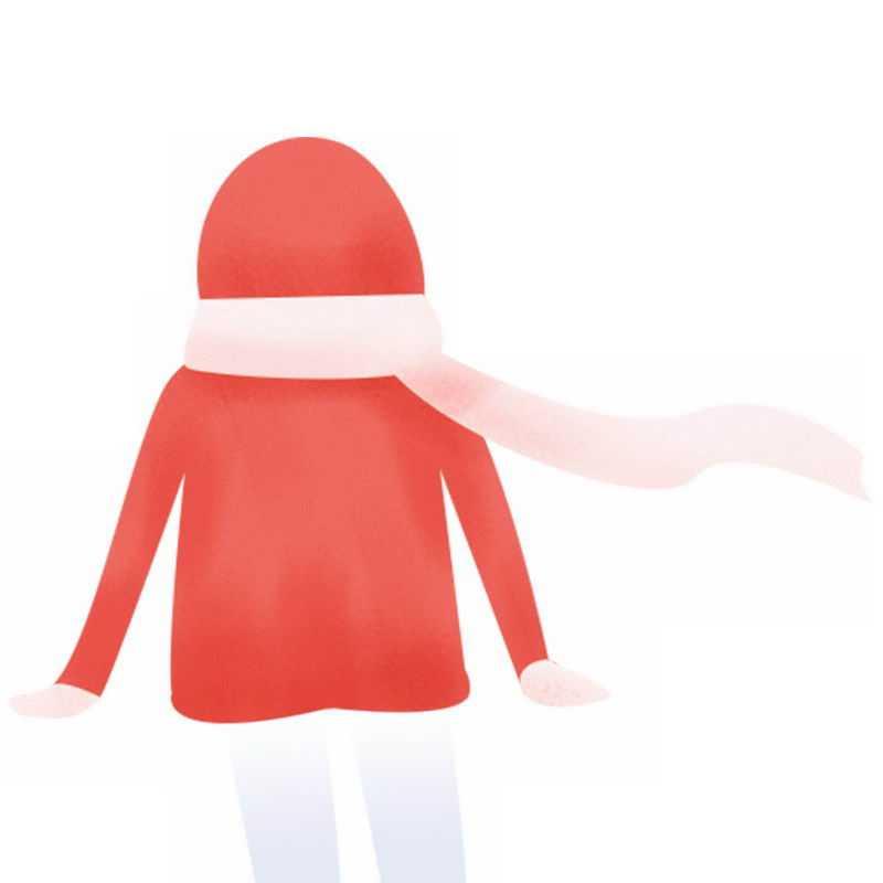 卡通身穿红色棉衣和粉色围巾的女孩背影手绘插画1651626PSD图片免抠素材